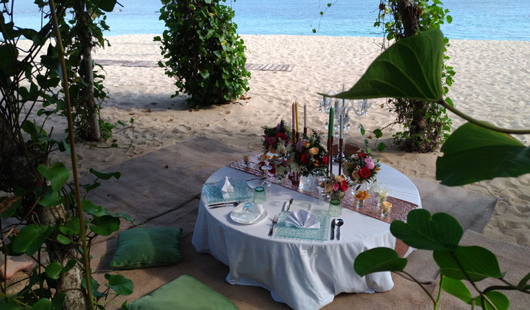 Private Beach Gazebo Romantic Dinner