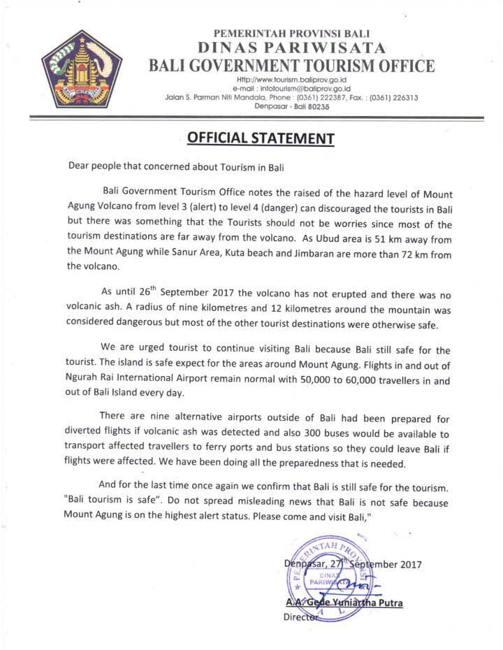 Bali goverment tourism official statement - Mount Agung